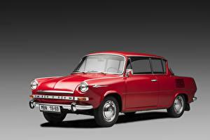 Фотографии Шкода Старинные Бордовый Металлик 1968-1969 1100 MBX de Luxe (723) автомобиль