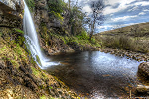 Обои Великобритания Водопады HDR Скала Thorton Force Waterfal