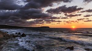 Обои Италия Рассветы и закаты Небо Море Облака Aglientu Sardinia Природа фото