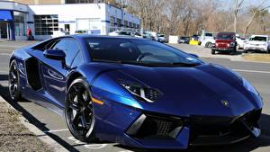 Картинки Lamborghini Синий Aventador LP700-4