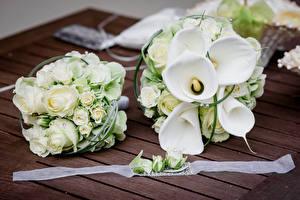 Фото Букет Роза Каллы Белый Вдвоем Цветы