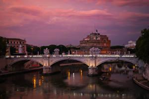 Обои Рим Италия Реки Мосты Крепость Ночь Города фото