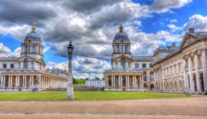 Фотография Англия Дома Лондон Газон Уличные фонари Облака HDRI Royal Naval College Города