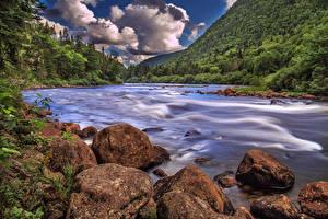 Картинки Канада Пейзаж Горы Озеро Камни Квебек Облака Природа