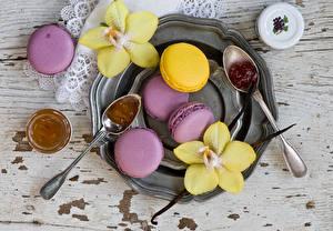 Фотография Печенье Орхидеи Макарон Ложка Еда