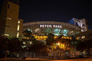 Картинки Штаты Сан-Диего Улице Ночью Деревьев Petco Park