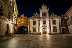 Фото Польша Дома Краков Улица Ночные Города