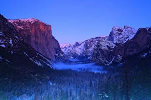 Фотография США Парки Йосемити Калифорнии Скалы Природа
