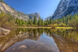 Обои США Озеро Парки Йосемити Mirror Lake Природа фото