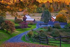 Обои США Осень Дороги Деревня Vermont Природа фото