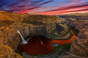 Фото Водопады Штаты Вашингтон Скала Каньон Palouse Falls