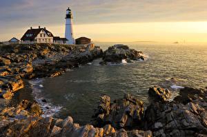Обои Маяки США Побережье Portland Head Light Cape Elizabeth Maine Природа фото