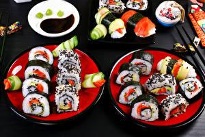 Обои Морепродукты Суши Тарелка Еда фото