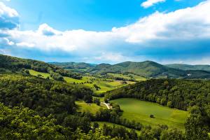 Фото Австрия Пейзаж Поля Горы Леса Небо Maria Raisenmarkt Природа