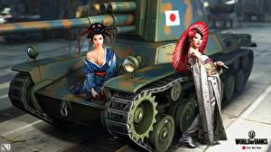 Фотография World of Tanks Танки Nikita Bolyakov Chi Nu Kai компьютерная игра Девушки