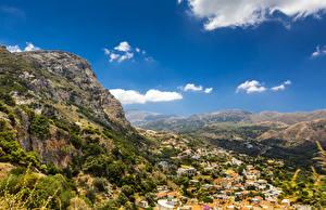 Обои Греция Пейзаж Горы Дома Небо Crete Природа фото