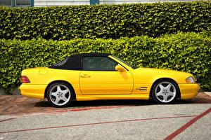 Картинки Mercedes-Benz Желтый Сбоку 1998-2001 SL 500 Машины