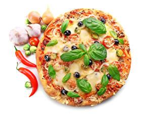 Картинки Фастфуд Пицца Перец овощной Чеснок Листья Белый фон Базилик душистый Еда