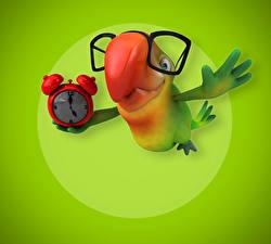 Картинка Птица Попугаи Часы Очки 3D Графика Животные