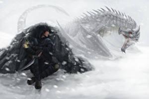 Картинки Dragon Age Драконы Воины Снег