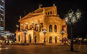 Картинки Германия Франкфурт-на-Майне В ночи Уличные фонари Old Opera