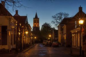 Фото Нидерланды Дома Утрехт Улице В ночи Уличные фонари Amerongen город