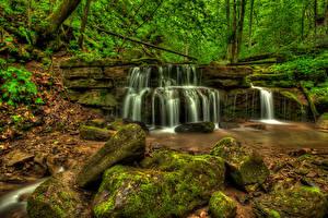 Фотографии Штаты Водопады Камни Мох Fall Branch New River Gorge