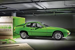 Фотографии Порше Ретро Сбоку Зеленый 1976-85 924 Автомобили