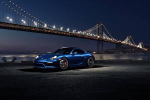 Картинки Мосты Порше Ночь Синий 911 GT4 Blue Night Машины