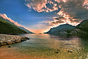 Фото Пейзаж Гора Речка Небо Облачно Природа