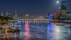 Фото Великобритания Дома Речка Мосты Катера HDR Лондоне Ночные Луна