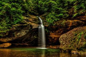 Фотографии США Парки Водопады Мох Hocking Hills State Park Logan Ohio Природа