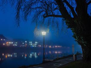 Фото Германия Дома Реки Уличные фонари Тумане Ночью Ulm Города