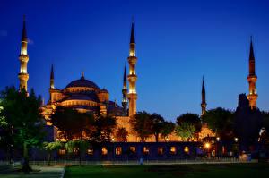 Обои Турция Дома Стамбул Голубая мечеть Ночь Города фото