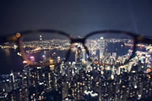 Фотография Китай Гонконг Небоскребы Очки Ночь Мегаполиса Сверху город