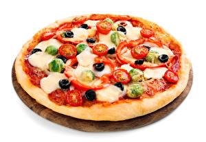 Обои Фастфуд Пицца Овощи Белый фон Еда