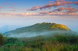Фотографии Таиланд Гора Небо Тумана Облака Природа