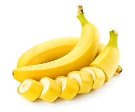 Фото Фрукты Бананы Белом фоне Пища
