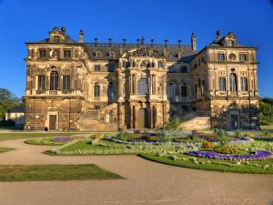 Фотография Дрезден Германия Парки Дворец Газон Palace Großen Garten (Great Garden) Города
