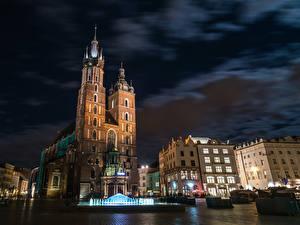 Фотография Польша Дома Фонтаны Краков Ночные Улица Городская площадь Города