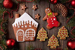 Картинки Новый год Печенье Дома Шарики
