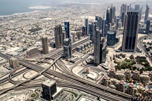Обои Небоскребы Дубай ОАЭ Дороги Сверху Города