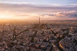 Фотографии Франция Вечер Дома Париже Сверху Города