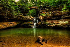 Фотографии Водопады Штаты Скала Upper Falls Old Mans Cave Hocking Hills State Park Природа