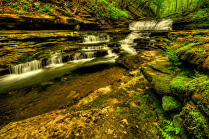Фото Водопады США Ручей Meadow Creek Cascades Wayne County Kentucky Природа