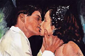 Фотографии Назад в будущее Любовники Рисованные Мужчины Поцелуй George, Lorraine Девушки