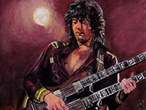 Картинки Мужчины Рисованные Гитара Led Zeppelin's, Jimmy Page
