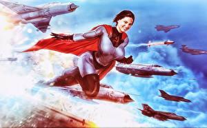 Картинка Истребители Soviet Superwoman Плащ Фантастика Девушки