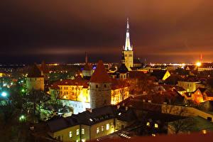 Обои Эстония Дома Таллин Ночные Города