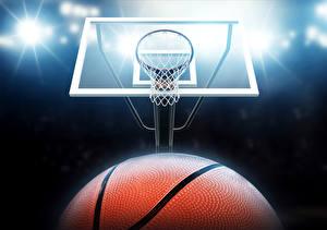 Обои Баскетбол Лучи света Мяч Спорт